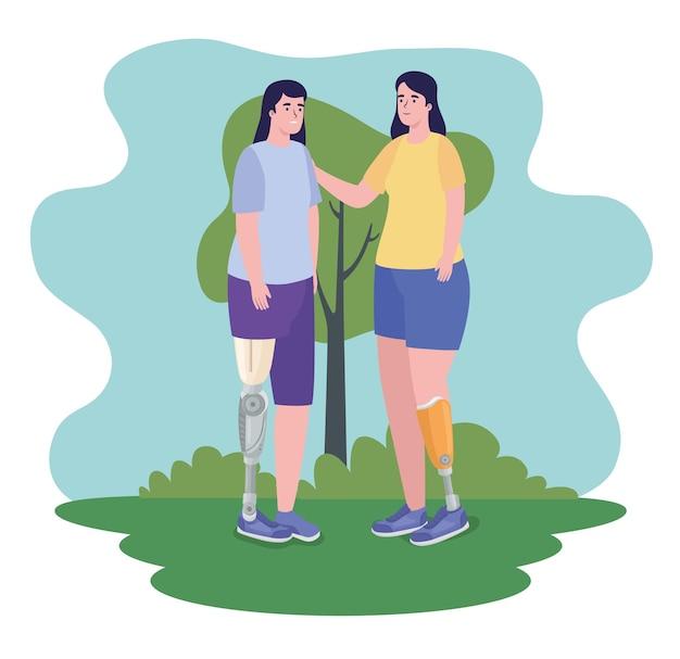 Zwei mädchen mit prothesen