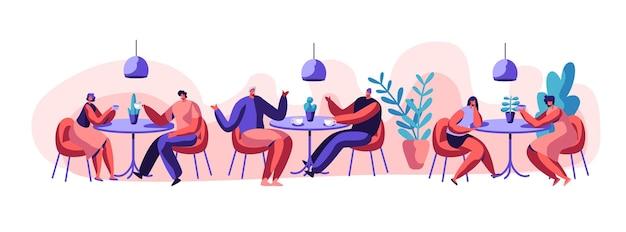 Zwei mädchen oder ein paar freundinnen sitzen am tisch und trinken kaffee oder tee. geschäftsfrau freundliches treffen und gespräch am café-tisch. flache cartoon-vektor-illustration