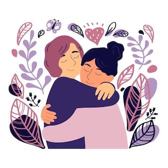 Zwei mädchen umarmen und lächelncharacters isoliert auf weißem hintergrund vector illustration im flachen stil