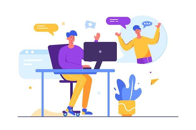 Zwei männer, die aus der ferne voneinander entfernt sind, kommunizieren über einen cosplayer mit sich selbst. ein mann sitzt an einem tisch in einem computer, isoliert auf einem weißen hintergrund, flache illustration.