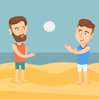 Zwei männer, die beachvolleyball spielen.