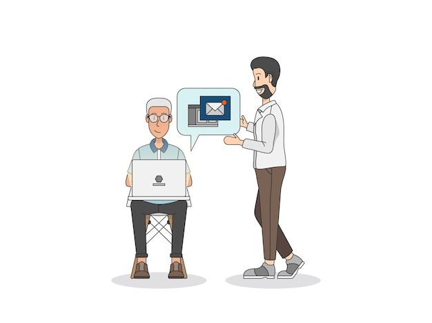 Zwei männer, die eine e-mail sprechen und schreiben