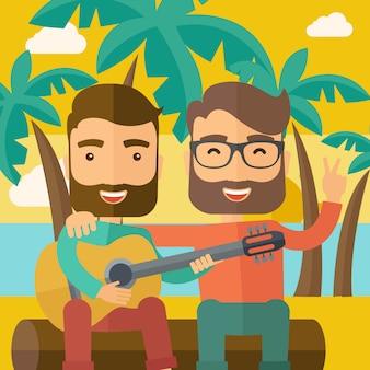 Zwei männer, die eine gitarre am strand spielen