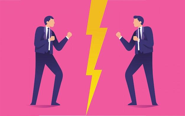 Zwei männer, die sich gegenseitig als feinde anstarren, kollidieren zwischen zwei arbeitern