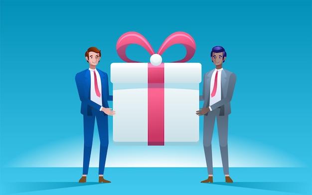 Zwei männer halten große geschenkbox. unternehmenskonzept. .