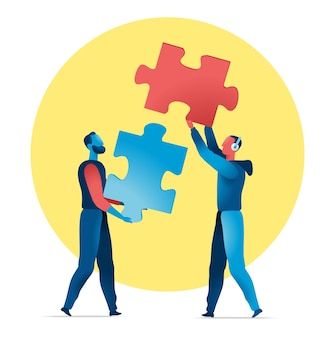 Zwei männer halten zwei puzzleteile