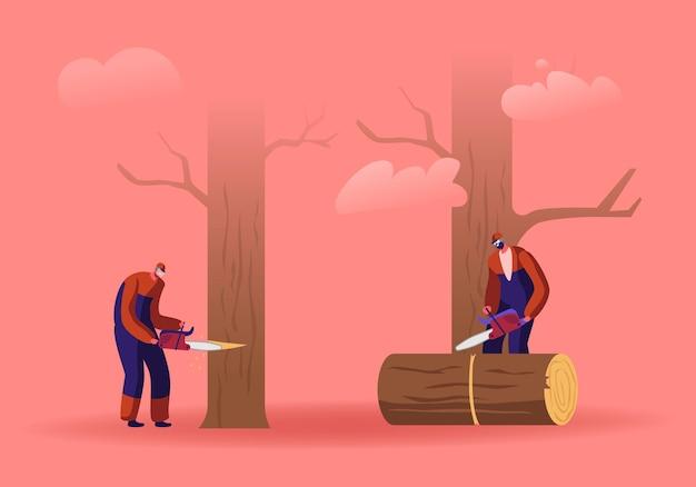 Zwei männer logger sägen protokolle und bäume im wald. karikatur flache illustration