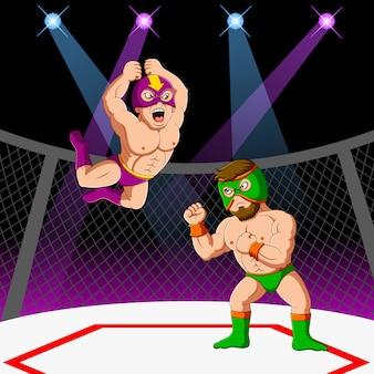 Zwei männer mit maske kämpfen gemischte kampfkünste