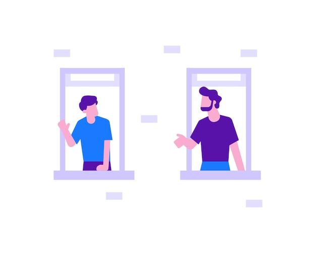Zwei männer sprechen durch das fensterillustrationskonzept