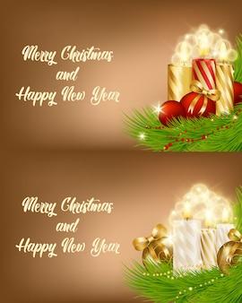 Zwei magische vektorabbildungen für weihnachten