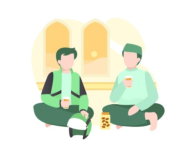 Zwei mann essen iftar essen an der moschee