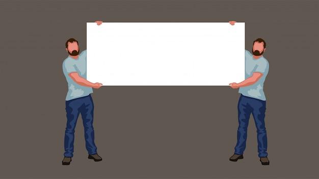 Zwei mann hält banner