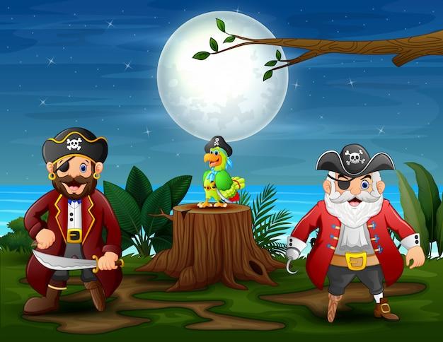 Zwei mann piraten mit einem papagei im dschungel