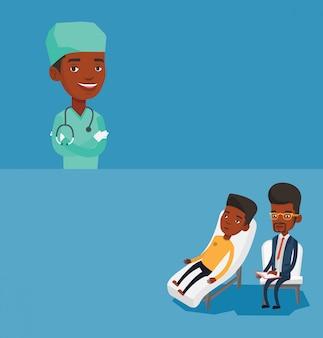 Zwei medizinische banner mit platz für text.