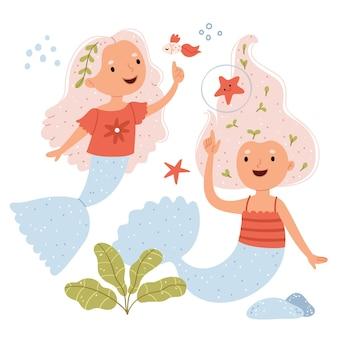 Zwei meerjungfrauen mit fischunterwasser-fantasiewelt
