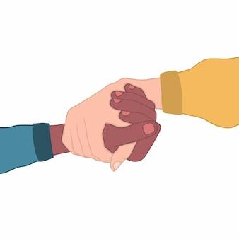 Zwei menschen mit unterschiedlicher hautfarbe, die sich gegenseitig die hand auf weißem hintergrund-flachem vektor halten
