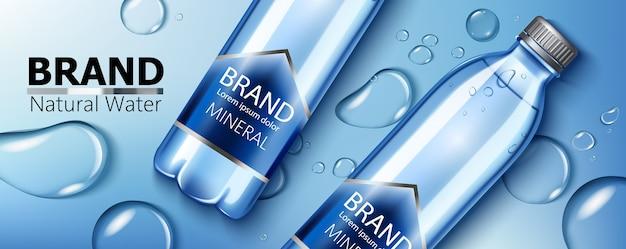Zwei mineralwasserflaschen mit platz für text auf einer oberfläche mit wasserflecken