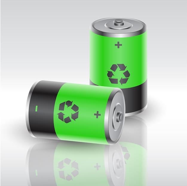 Zwei mit erneuerbarer energie geladene batterien