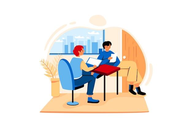 Zwei mitarbeiter arbeiten hart im geschlossenen büro