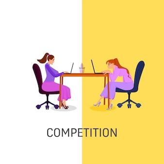 Zwei mitarbeiterinnen konkurrieren auf einem laptop im flachen stil. arbeitsplatz. coworking