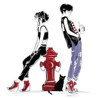 Zwei modemädchen in der skizzenart.
