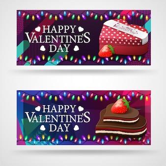Zwei moderne grußfahnen zum valentinstag mit schokoladen in form von herzen