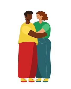 Zwei moderne menschen umarmen sich. schwarzer mann und weiße frau. freunde oder verliebte paare.