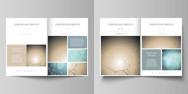 Zwei moderne umschlagvorlagen im a4-format für broschüre, flyer, bericht