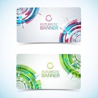 Zwei moderne virtuelle technologie-clubkarte oder visitenkarte