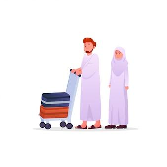 Zwei moslem-paare, die ihram tragen