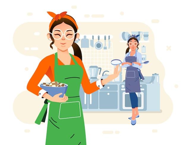 Zwei mütter, die zusammen in der küche kochen und schürze und küchengerät als hintergrund tragen. wird für webbilder, poster und andere verwendet