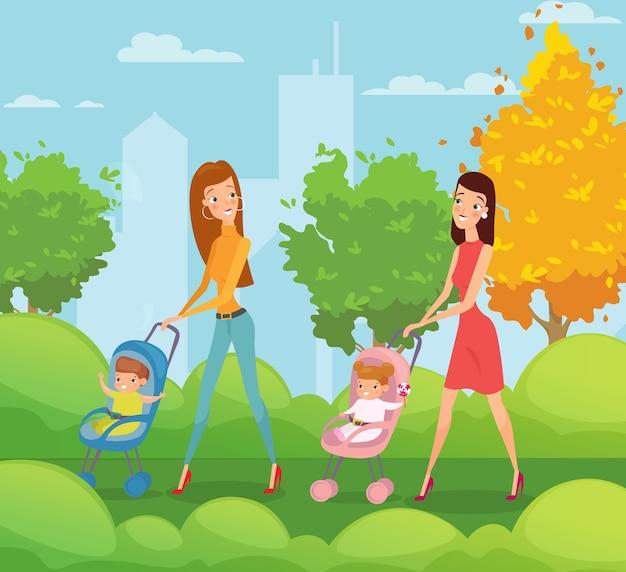 Zwei mütter mit kindern, die im park spazieren gehen und reden glückliche frauen gehen mit babys durch den park