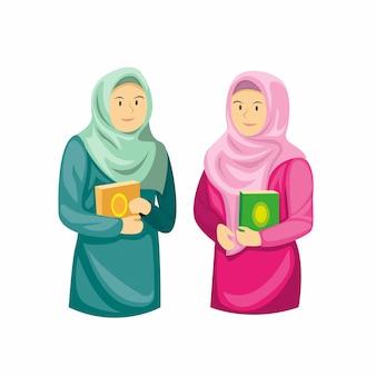 Zwei muslimische mädchen, die al quran, ramadan-jahreszeitdekoration in der karikaturflachillustration lokalisiert im weißen hintergrund halten