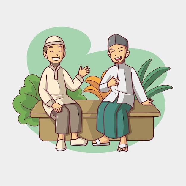 Zwei muslimische männer hängen rum Premium Vektoren