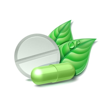 Zwei natürliche medizinische pillen mit grünen blättern. pharmazeutisches symbol mit blatt für apotheke, homöopathische und alternative medizin. illustration, lokalisiert auf weißem hintergrund