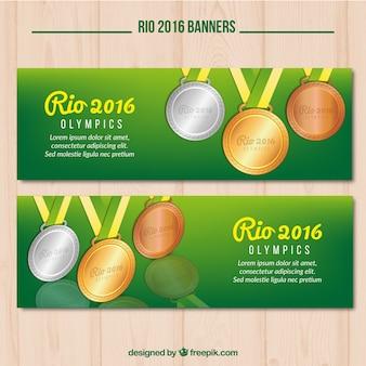 Zwei nette banner für die olympischen spiele in rio