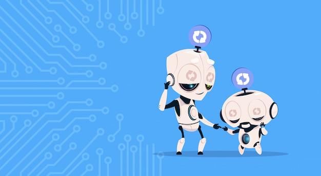 Zwei nette roboter, die das aktualisieren der systemprogrammierungssoftware über stromkreis-hintergrund schlafen