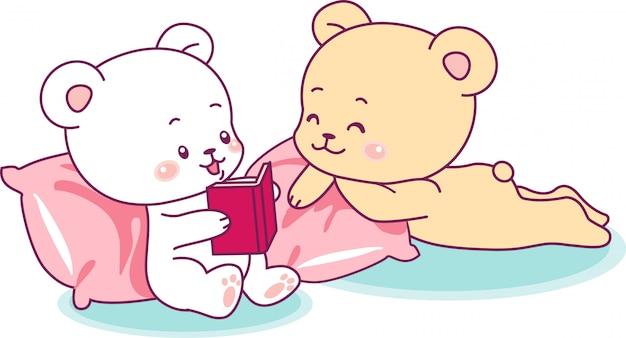 Zwei niedliche bären, die ein buch lesen