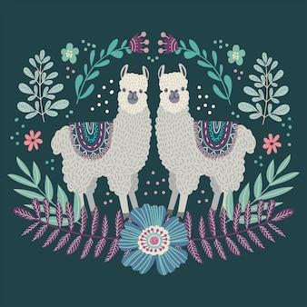 Zwei niedliche cartoon-lamas. hand, die flachen gekritzelvektor zeichnet