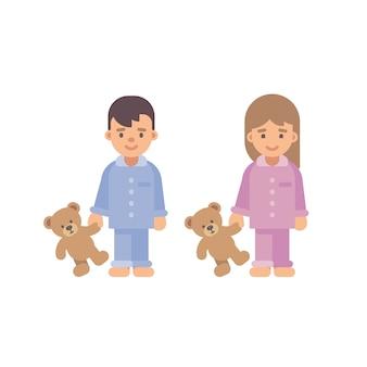 Zwei niedliche kleine kinder in den pyjamas, die teddybären halten. flache illustration des jungen und des mädchens