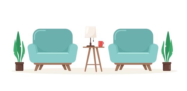 Zwei niedliche moderne sessel mit einem tisch und einer lampe.