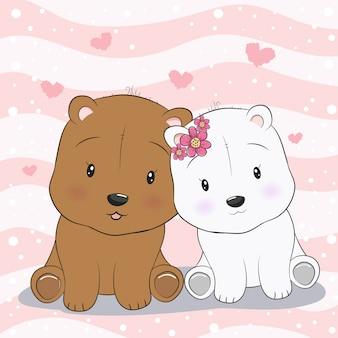 Zwei niedliche teddybären in der liebe