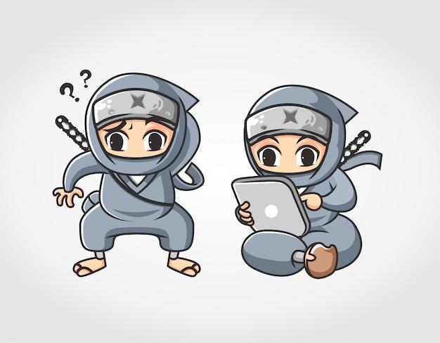 Zwei ninja wunder und surfen mit computer tablet maskottchen charakter