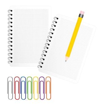 Zwei notizbücher mit gelbem bleistiftvektorillustrator