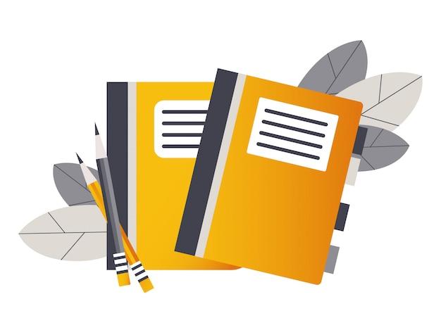 Zwei notizbücher mit lesezeichen und bleistiften. zurück zur schule.
