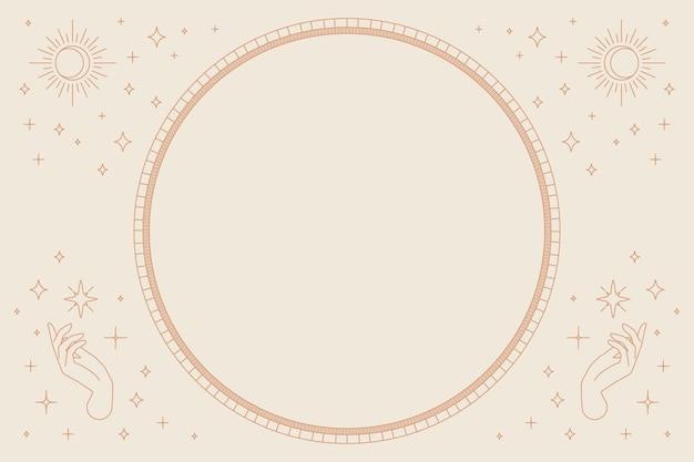 Zwei offene hände vektor runden rahmen linearen stil auf beige hintergrund