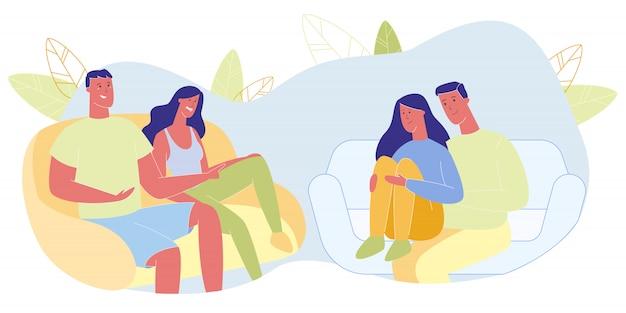 Zwei paare, die auf couches sitzen, verbringen zeit zusammen