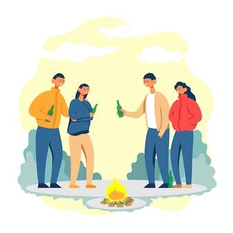 Zwei paare, die eine flasche bier klirren und trinken. flache cartoon-vektor-farbe-illustration.
