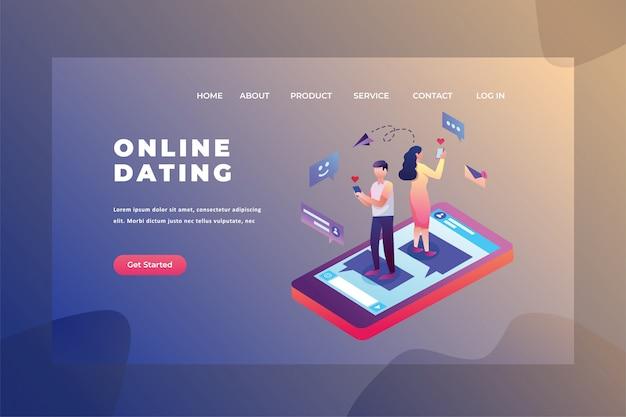 Zwei paare, die nach einer datums-liebes- u. verhältnis-webseiten-titel-landing page template illustration suchen