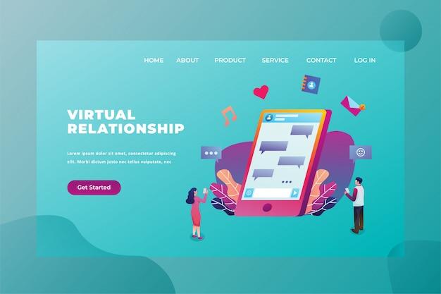 Zwei paare, die noch unter verwendung der technologie der virtuellen beziehung verbunden sind, lieben u. verhältnis-webseiten-titel-landing page template illustration
